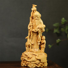 20CM God of Longevity Boxwood Sculpture Elder Birthday Gift Solid Wood Myth Statue Crafts Home Decor