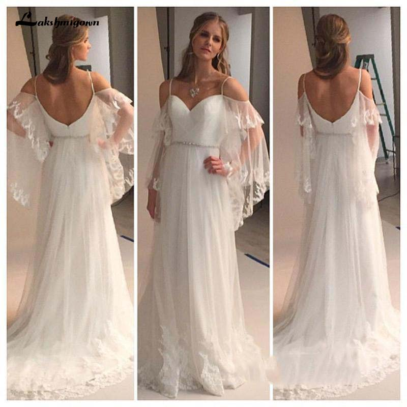 Greek Country Style Bell Sleeve Boho Beach Lace Wedding Dresses  Off-shoulder Beaded Belt Bohemain Cheap Wedding Gown