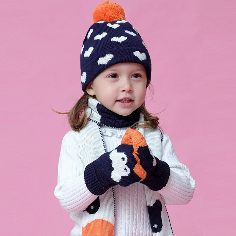 Hat Scarf Glove Set Kid Girl Winter Beanie Pompon Warm Three Pieces Thick Autumn Skiing Outdoor Accessory Toddler Baby