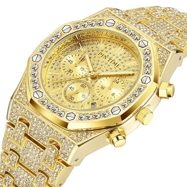 Men's Chronograph Luxury Brand Gold and Diamond Watch