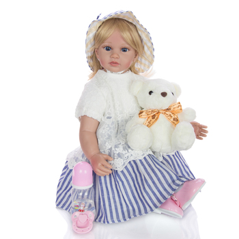 """60cm Reborn Doll Toddler Soft Silicone Viny Limbs 24"""" Princess girl Alive Bebe reborn lol Lovely Birthday Gift Play House Toy"""