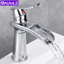 купить Basin Faucet Mixer Brass Bathroom Faucets Waterfall Bathroom Sink Faucet Toilet Single Hole Cold and Hot Water Basin Mixer Taps дешево