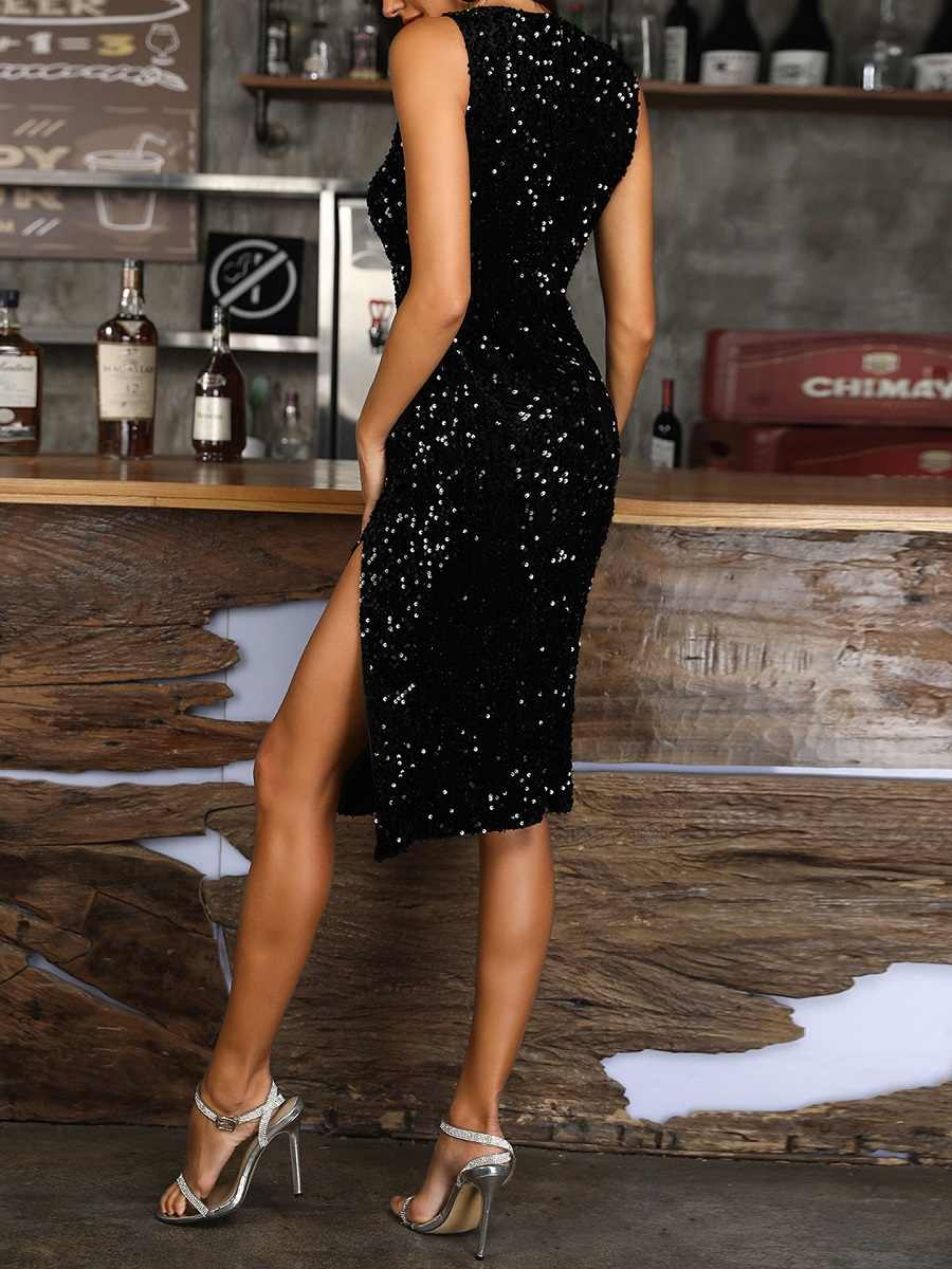 Cekiny seksowna sukienka z frędzlami New2019 sukienki damskie letnie opięty seksowny elegancki strój vestidos wysoki podział damski seksowny strój