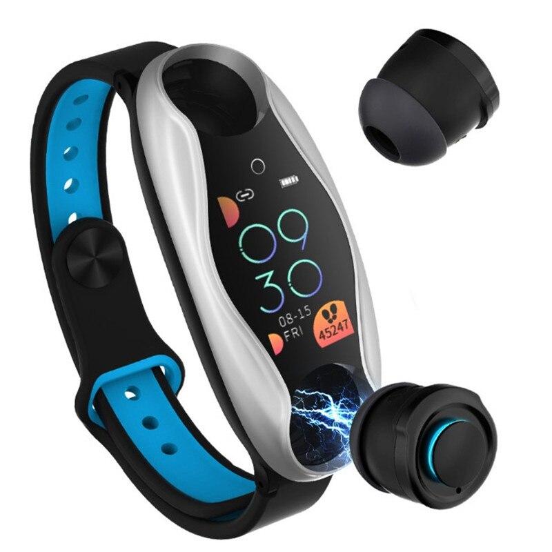 Двойные Bluetooth наушники, смарт браслет, мужские умные часы с монитором сердечного ритма, спортивные подключаемые к телефону часы с гарнитуро