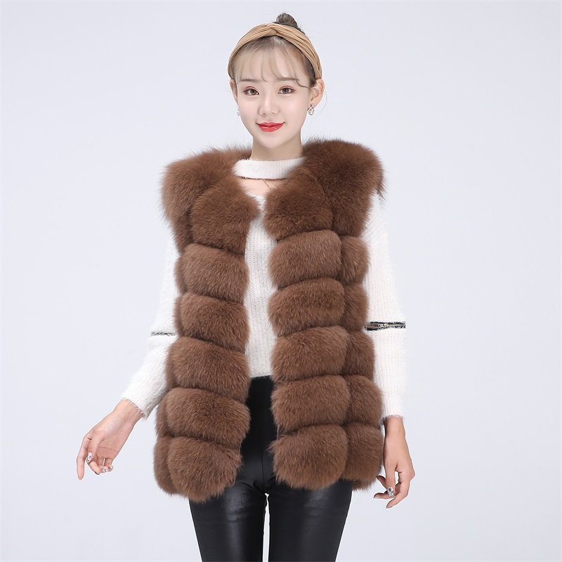 BEIZIRU Real Fur Fox Vest Height 68cm  Waistcoat Woman Natural Winter Warm Real Natural Fox Fur Vest Sleeveless Silver Fox Vest