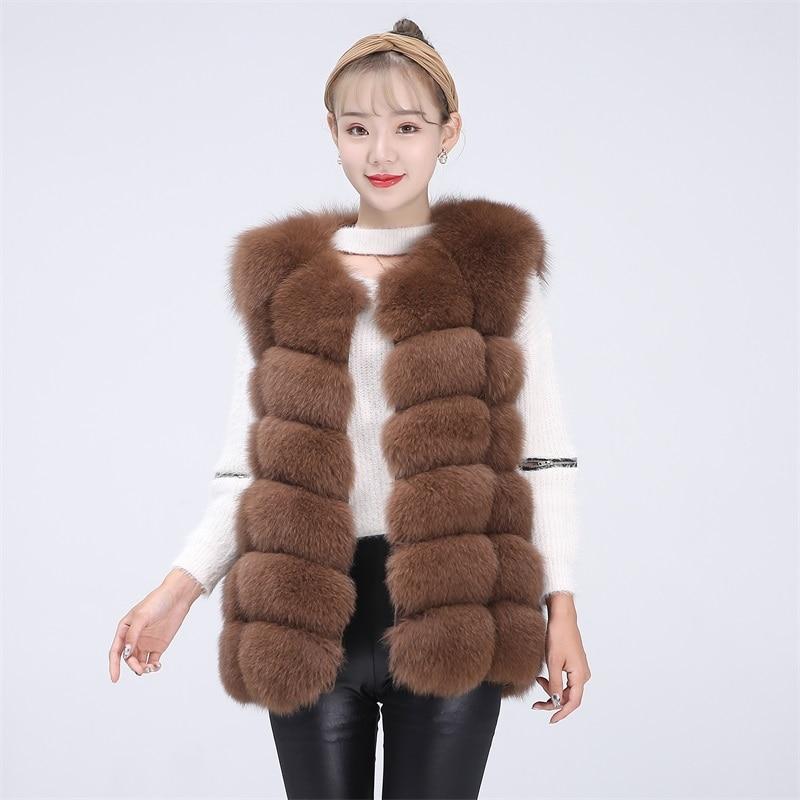 BEIZIRU Real Fur Fox Vest Height 68cm  Waistcoat Woman Natural Winter Warm Real Natural Fox Fur Vest Sleeveless Silver Fox Vest