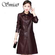 2019 Autumn Winter Faux Leather Jackets Women Plus Size 5XL Fashion Long Female Jacket Trench Coat Turn Collar Ladies Outerwear цены