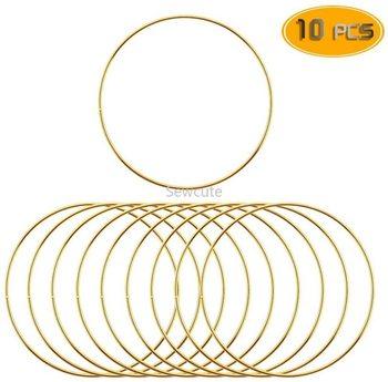 10 sztuk metalowy łapacz snów Dreamcatcher pierścień makrama Craft Hoop DIY ślub dzwonek wietrzny dekoracje wiszące akcesoria 35-190mm tanie i dobre opinie Flower Europa
