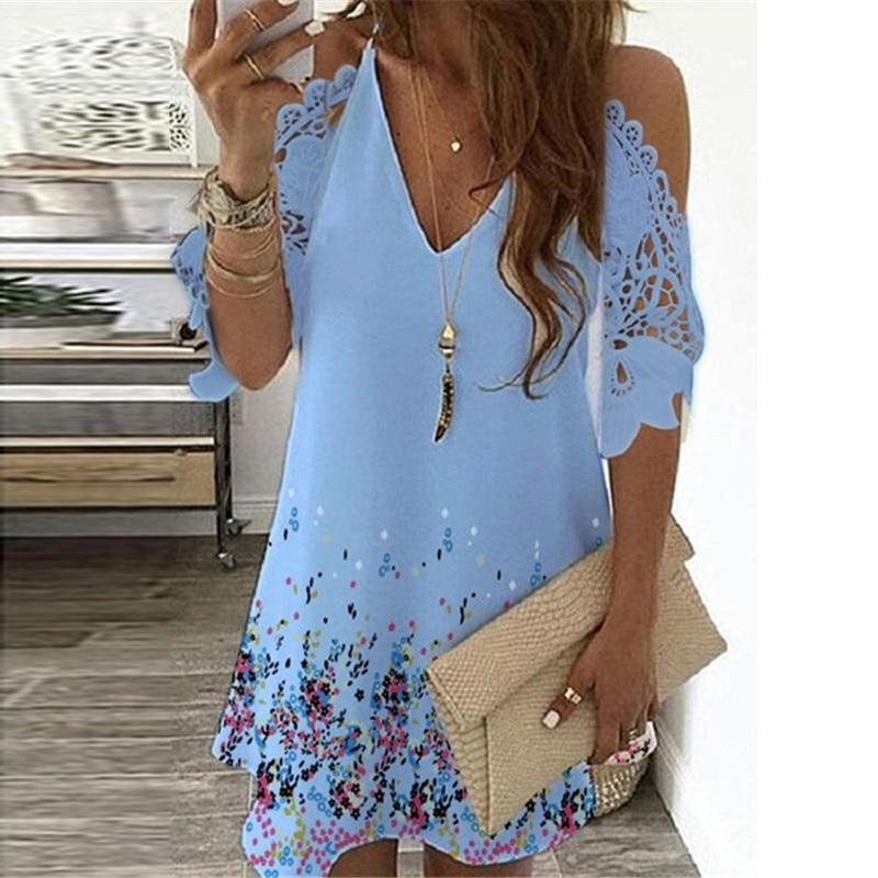 Summer Vintage Floral Printed Dresses Women Casual Off Shoulder Half Sleeves Lace Dress Hollow Out V-Neck Sling Party Dresses 11