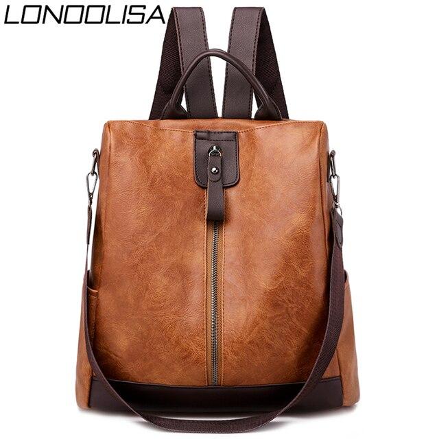 3 في 1 الرجعية على ظهره النساء بولي Leather الجلود الحقائب المدرسية Teenage مكافحة سرقة السيدات حقائب كتف حقيبة السفر بسيطة