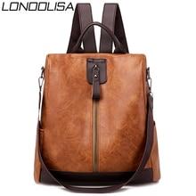 3 in 1 Retro Backpack Women PU Leather School Bags For Teenage Girls Anti theft Ladies Shoulder Bags Simple Travel Backpack