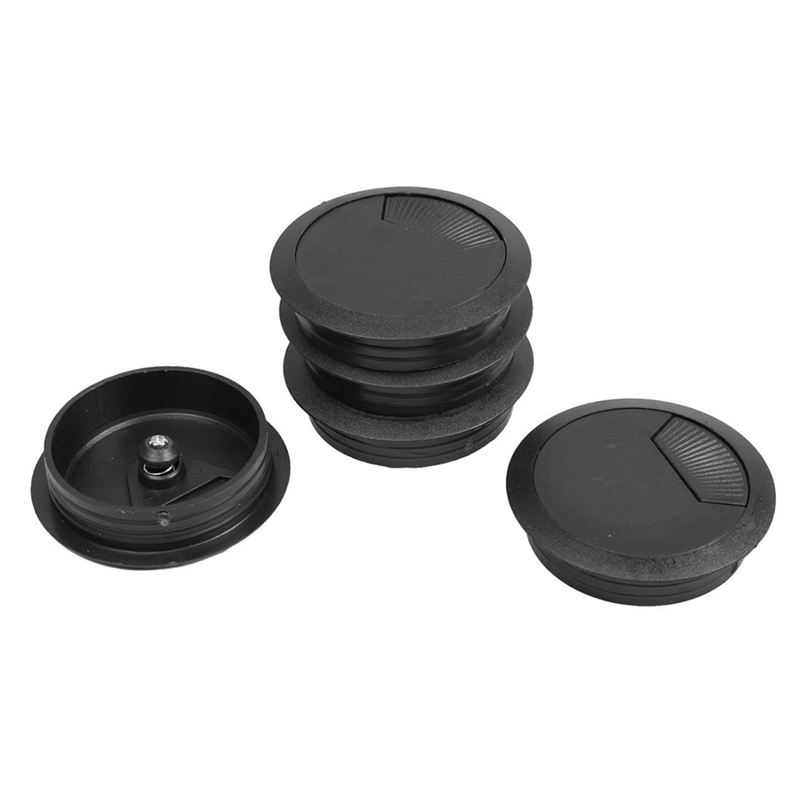 5 Pcs Black 70mm Dia Round Plastic Cable Hole Covers For Computer Desk