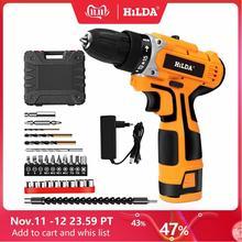 HILDA 16.8 فولت الحفر الكهربائية مع بطارية ليثيوم قابلة للشحن الكهربائية مفك مفك البراغي اللاسلكي اثنين من السرعة أدوات كهربائية
