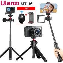 ULANZI MT-16 Mini Tripod for Phone Camera 360°Rotation Extend Selfie Stick Tripod W Cold Shoe Mic LED Light for Gopro Phone Vlog