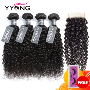 Yyong Peruvian Kinky Curly Weave 4 Bundles With Closure 100% Human Hair Bundles With Medium Brown Swiss Lace Closure Non Remy