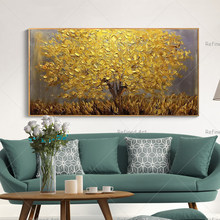 Handmade Large Modern Canvas Landscape Golden Tree Knife Oil Painting Home Living Room Hotel Decorative Wall Art