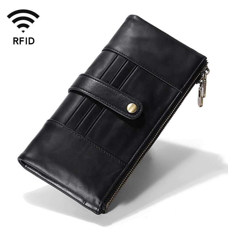 Black Long Clutch Men Wallet Genuine Leather Organizer Zipper Card Holder Purse