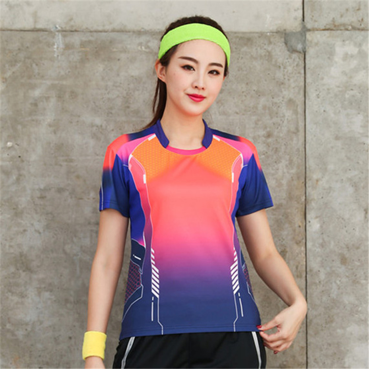 Быстросохнущая, впитывающая пот и дышащая рубашка для бадминтона, топ для соревнований, тренировочный костюм для бега, мужской и женский короткий рукав - Цвет: 1817Bfemale2