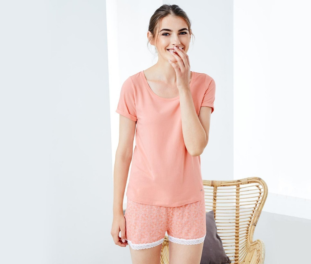 Free Shipping.pink Girl Plus Size Womens Sexy Short Pajamas Set.summer Soft Girl Fashion Cotton Shorty Femme Hot Sales,quality