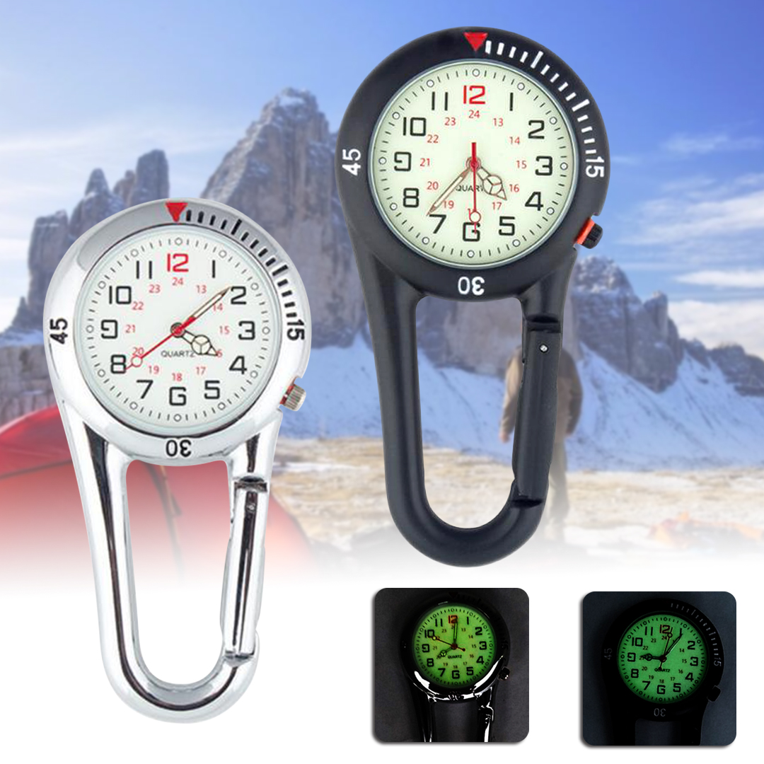 Outdoor Mini Round Dial Arabic Numbers Quartz Analog Carabiner Watch Outdoor Sport Clip On Belt Pocket Fob Watch Luminous Watch
