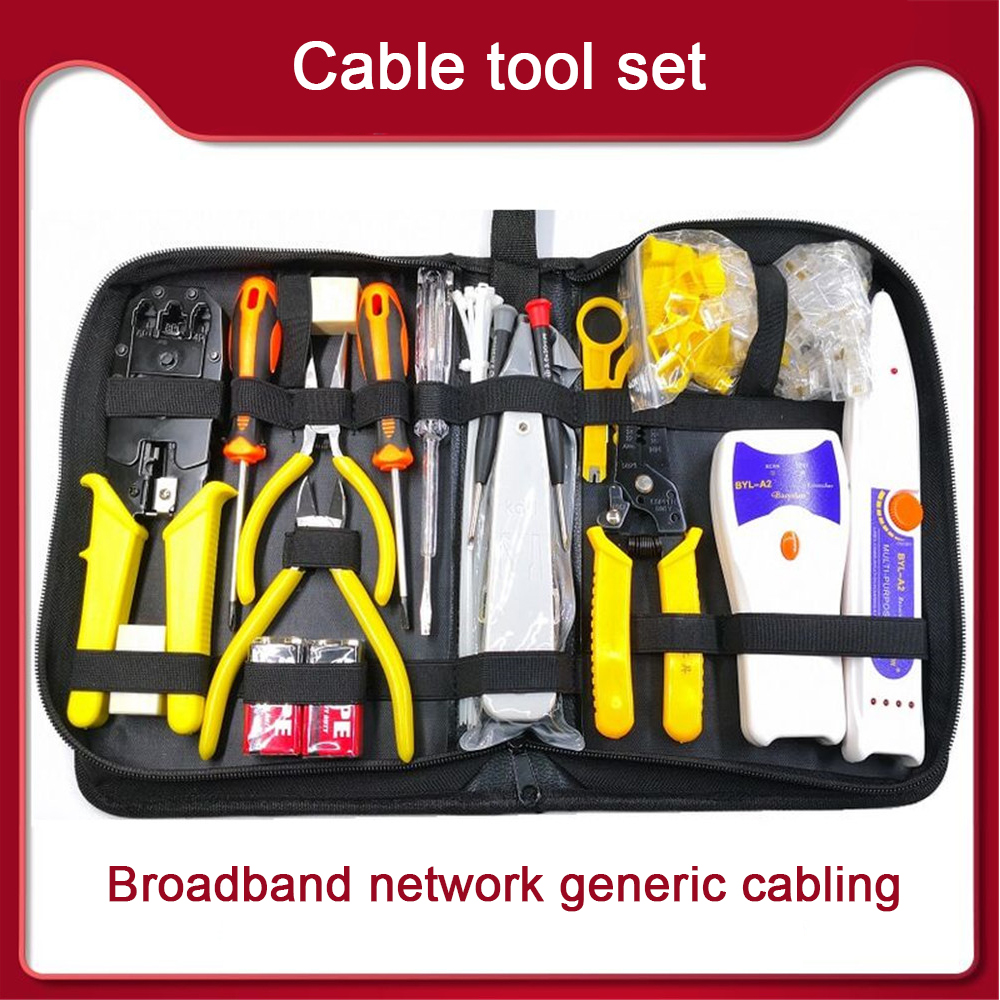 23Pcs Computer Network Repair Tool Kit LAN Cable Tester Wire Cutter Screwdriver Pliers Crimping Maintenance Tool Set Bag