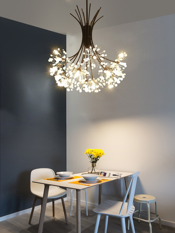 moderna iluminacao led lustre nordic restaurante lustre preto ouro prata quarto iluminacao buque de cristal
