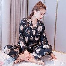 Nova primavera pijama manga longa fina pijama coreano personalizado casa roupas simulação seda dois conjuntos impresso pijama mujer