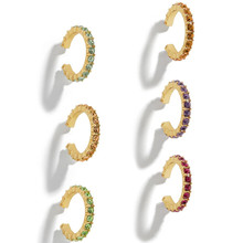 Joolim 6PCS/Set  Colorful Zirconia Pave Earrings Cuff for No Hole Ear