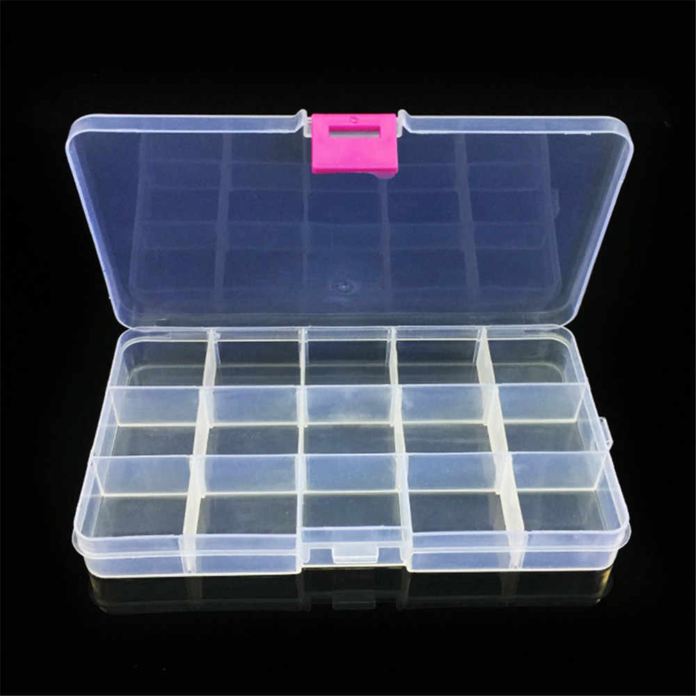 15 Slots Fishing Tackle Box Adjustable Plastic Fishing Lure Hook Tackle Box Storage Case Organizer Casket For Cosmetics Z0806