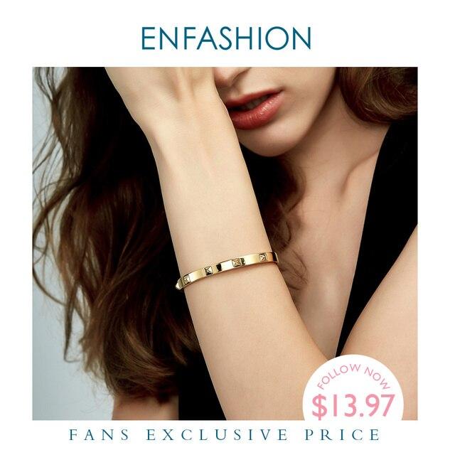 Enfashion Pyramid Spikes Bracelet Manchette Gold Color Stainless Steel Bracelet For Women Cuff Bracelets Bangles Pulseiras