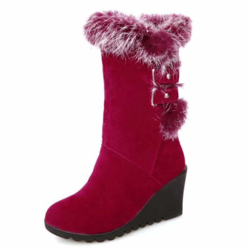 Tasarımcı yeni kış kadın kar botları kama toka yüksek tüp sıcak kadın botları rahat moda ayakkabılar kadın sneakers 34-43