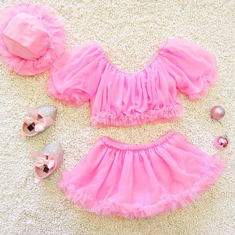 Split Skirt-Half Sleeve South Korea Large Children Catwalks GIRL'S Hot Springs Infants Baby Cute Students Bathing Suit