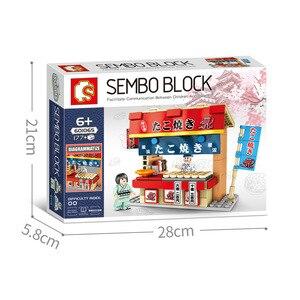 Image 3 - Sembo widok ulicy japońskiego baru przekąskowego Mini ulica miasta sklep sklep restauracja zestaw 3D Model bloki zabawki do budowania dla dzieci