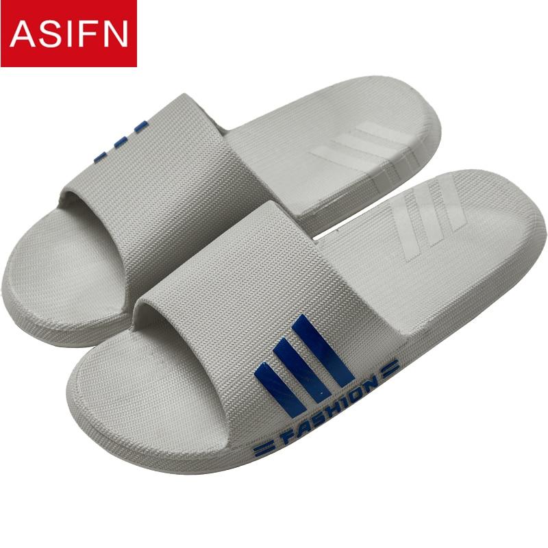 ASIFN Summer Home Slippers Men Slides Flip Flop Fashion PVC Male Non-slip Shower Bathroom Couple Soft Sole Men Flip Flops