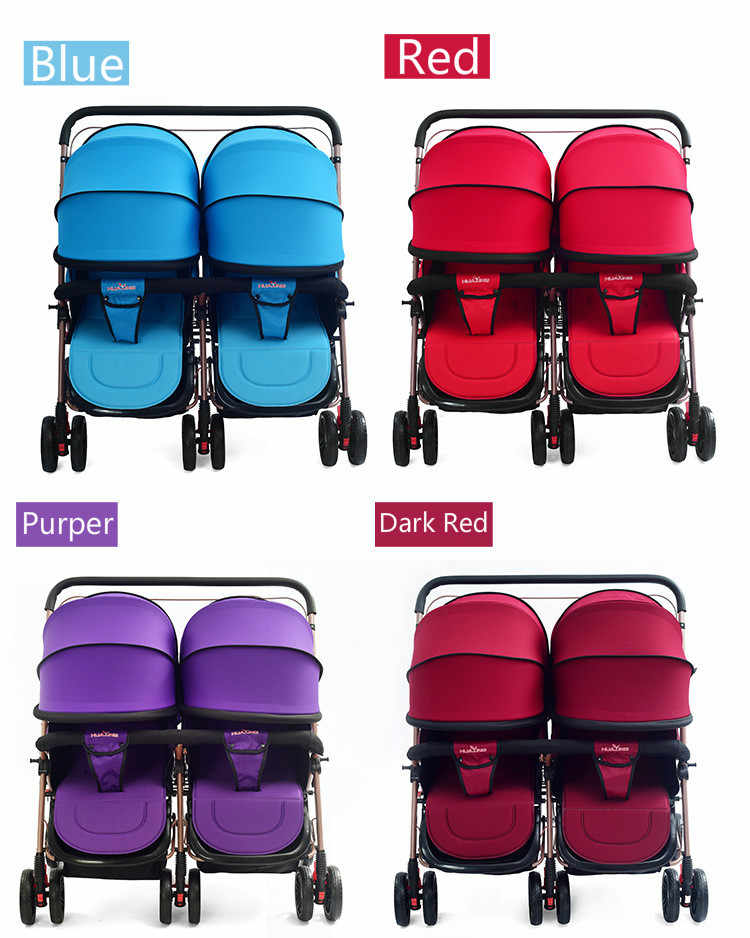 Twin Baby Stroller Light Folding Cart Children Can Sit Can Lying Trolley Double Stroller Pram