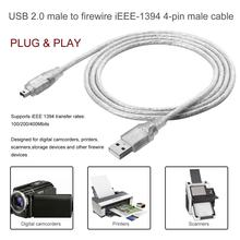1.2m USB 2.0 Male Naar Firewire iEEE 1394 4 Pin Male iLink Adapter Kabel Man Op Man Kabel Licht wit Flexibele Kabel 2019 Nieuwe(China)