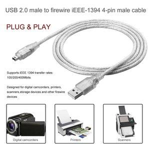 1.2m USB 2.0 Maschio A Firewire iEEE 1394 4 Spille Maschio iLink Cavo Adattatore Maschio A Maschio Cavo di Luce bianco Cavo Flessibile 2019 Nuovo(China)