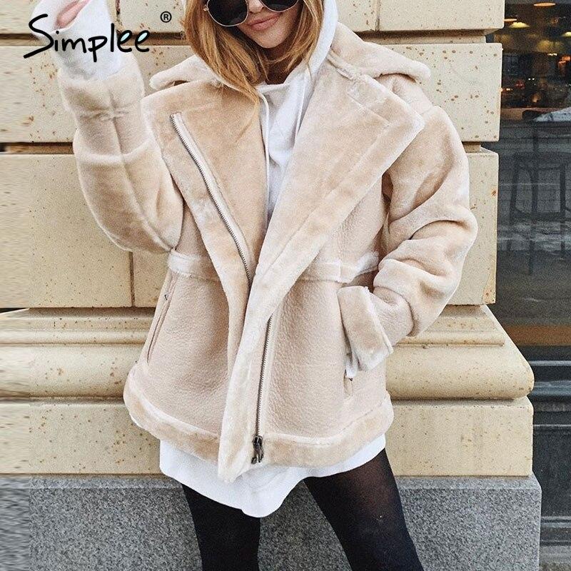 Simplee Patchwork Faux Leather Coat Women Teddy Faux Fur Zipper Soft Ladies Winter Warm Coats Pocket Outwear Female Short Jacket