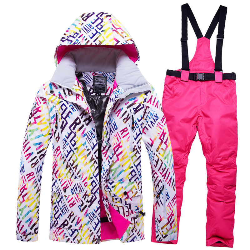 New Thick Warm Ski Suit Women Waterproof Windproof Skiing And Snowboarding Jacket Pants Set Female Snow Costumes Outdoor Coat