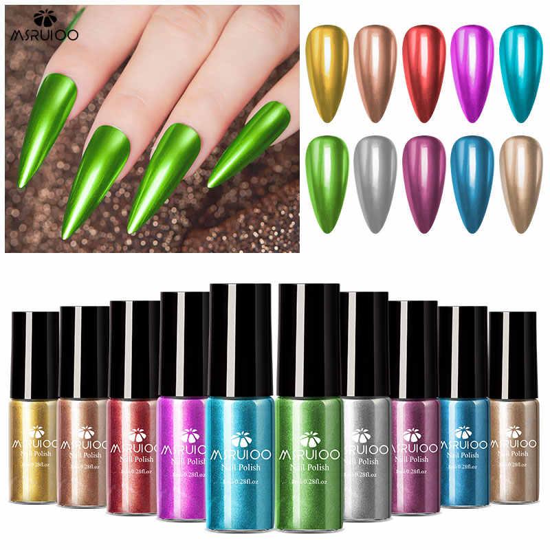 MSRUIOO metálico efecto espejo uñas de Gel esmalte de uñas para remojo Gel polaco Vernish Semi permanente de Arte de uñas esmalte laca