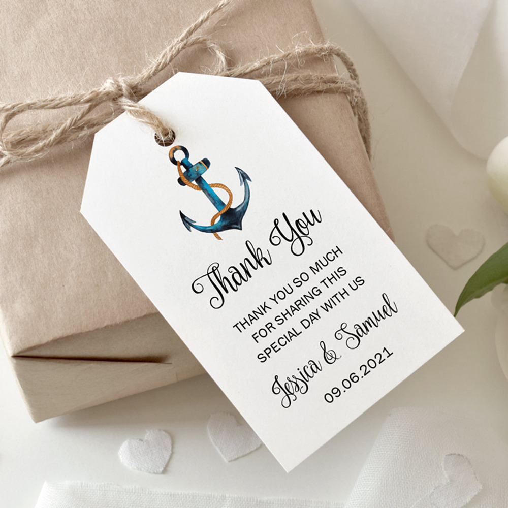 Personalized Watercolor Seahorse Hang Tag Beach Wedding Thank You Tag Destination Wedding Custom Tag Bridal Shower Bag Tag for Favors