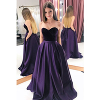 Sweetheart Prom Dresses 2019 Strapless Long Dress With Pockets Lace Up Back Velvet Top Satin Skirt Formal Gown Vestidos De Gala