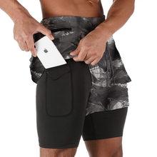 Short de Sport 2 en 1 pour hommes, motif camouflage, séchage rapide, à Double couche, pour course, Fitness, Jogging, entraînement, 2021