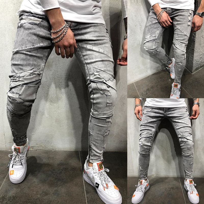 OLOME 2019 Gery Jeans Mens Stretch Denim Pants Cargo Pants Mens Zipper Skinny Hole Jeans Hip Hop Male Trousers European Size