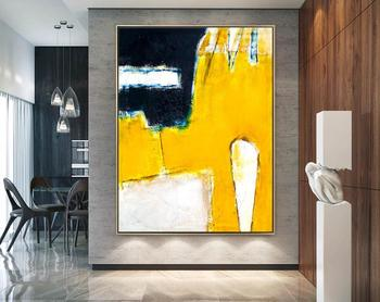 Abstract Painting Large Acrylic Canvas Wall Art Yellow Minimal Expressionism Yellow Modern Painting Wall Art On Canvas Neo