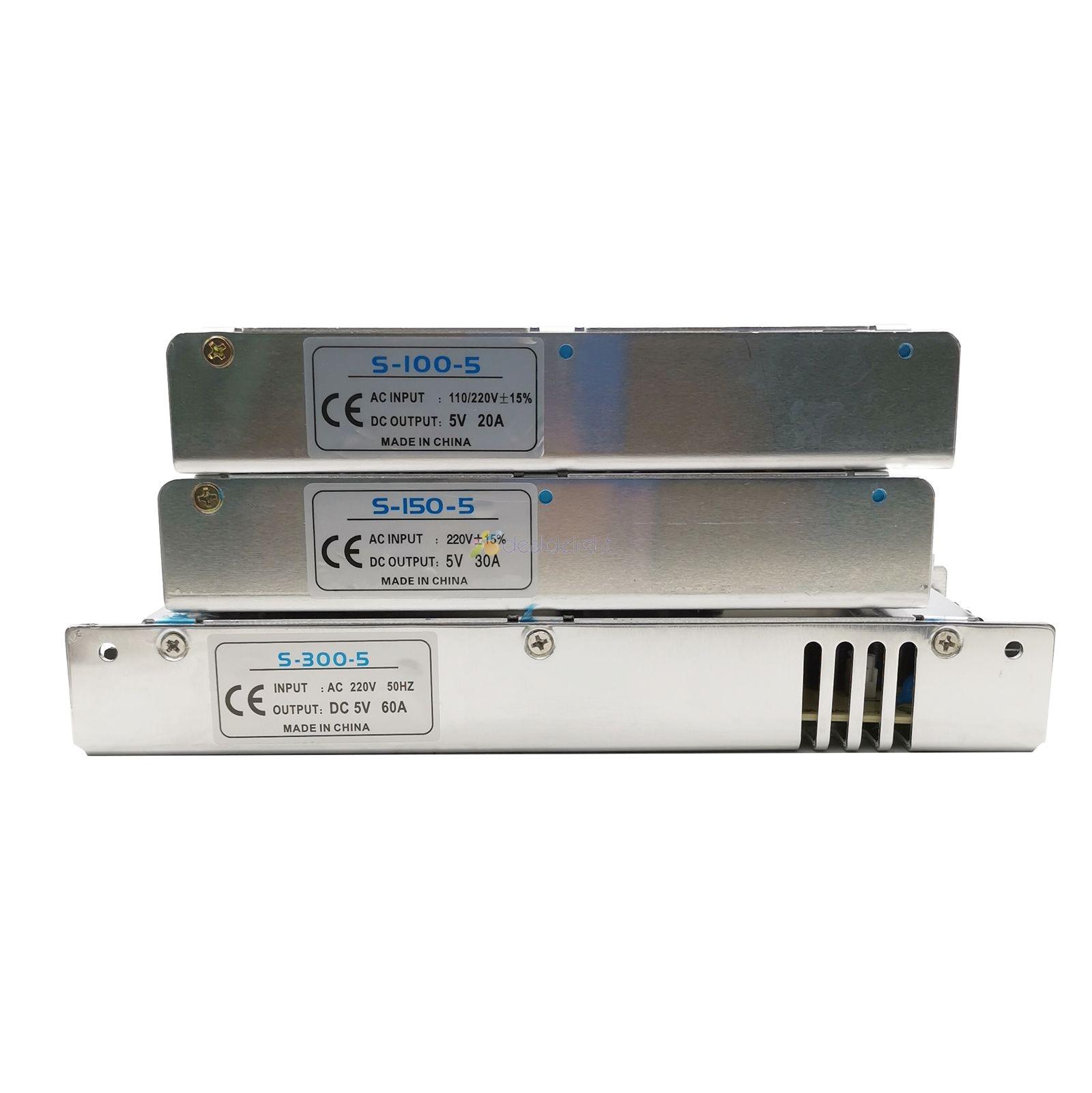 Ultra-dünne Schalt netzteil DC 5V 4A 20A 30A 40A 60A Led-treiber Transformator 110V 220V AC Zu DC5V Für Led Streifen Display