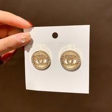 Модные серьги гвоздики в Корейском стиле маленькие круглые роскошные