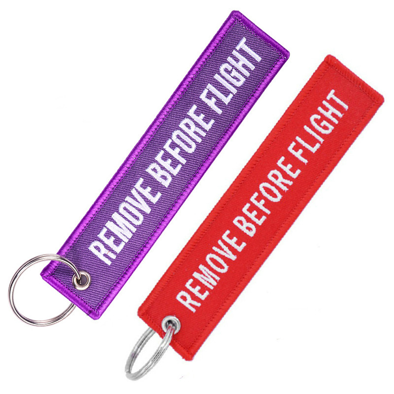 Remove Before Flight Travel Luggage Tags Embroidery Bag Tag With Keyring Key Chain For Aviation Gifts 2PCS/LOT