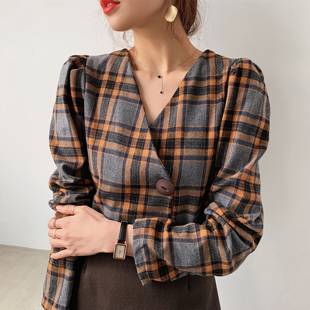 Long Sleeve Plaid Blouse Women 2020 Spring Autumn Korean Office Ladies Elegant V Neck Short Shirts Vintage Female Tops Work