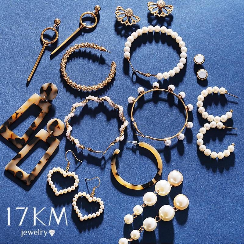 17KM Big Circle Twist Pearl Earrings For Women Fashion Tassel Drop Earrings Set Flower Acrylic Crystal Earring Vintage Jewelry